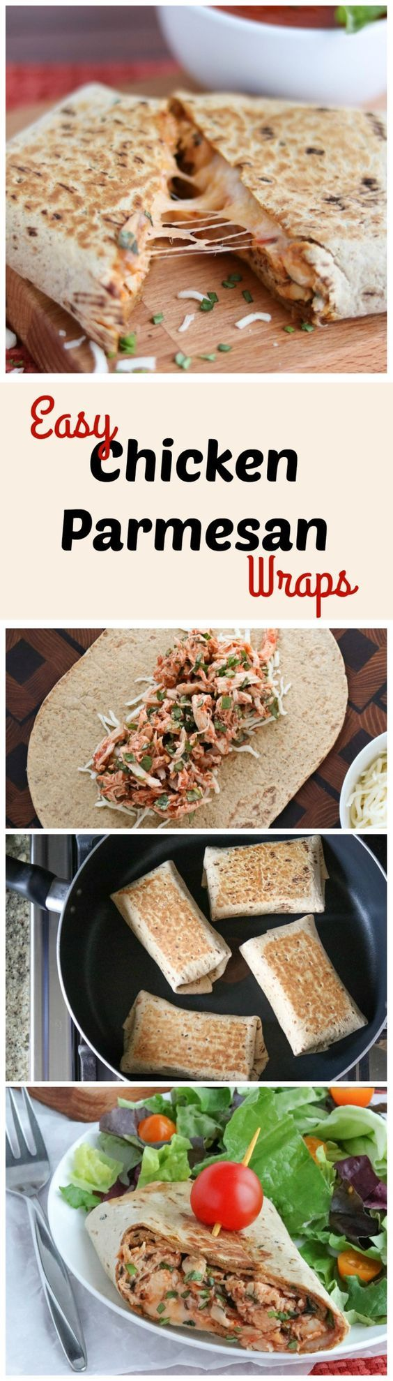 These Easy Chicken Parmesan Wraps are a fast 15-minute meal! You can even make them ahead – they're freezable, too! Cheesy, saucy and so delicious! AD   www.TwoHealthyKitchens.com
