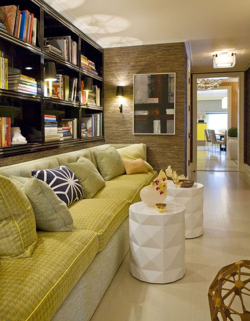 : Awesome Contemporary Hall Design Interior Completed With Green Throw Pillows For Sofa In Minimalist Style