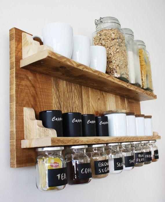 Wunderschone Gewurze Oder Kaffee Regal Mit Hangeglasern Von Apt8ecodesign Apt8ecodesign Gewurze Rustic Kitchen Decor Kitchen Wall Shelves Kitchen Wall Decor