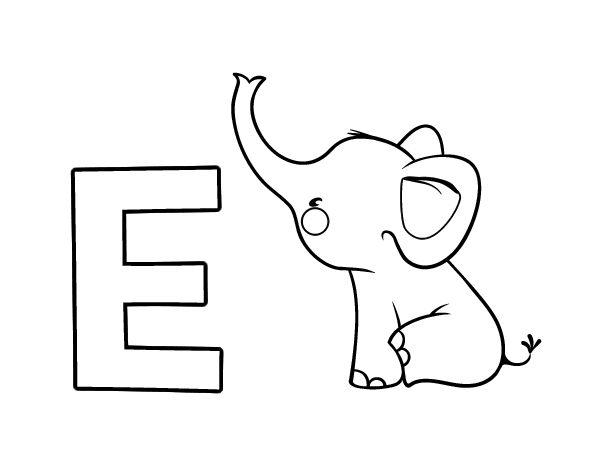 Dibujo del Abecedario - Letra E para colorear ...