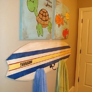 Surf board/ beach theme bathroom
