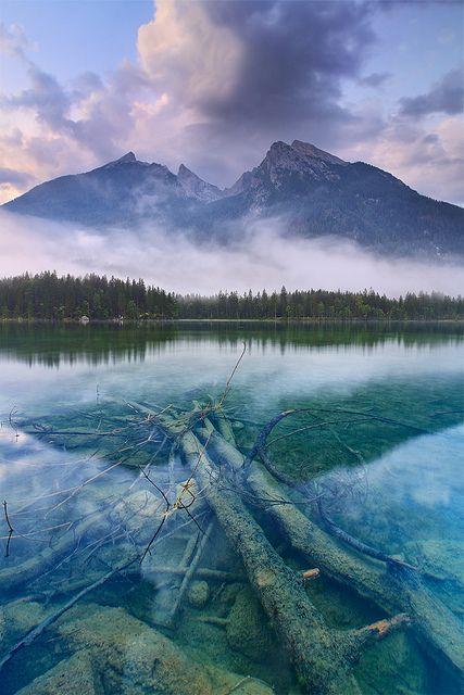 Into the Blue, morning view of the Hintersee, Bavaria, by mibreit