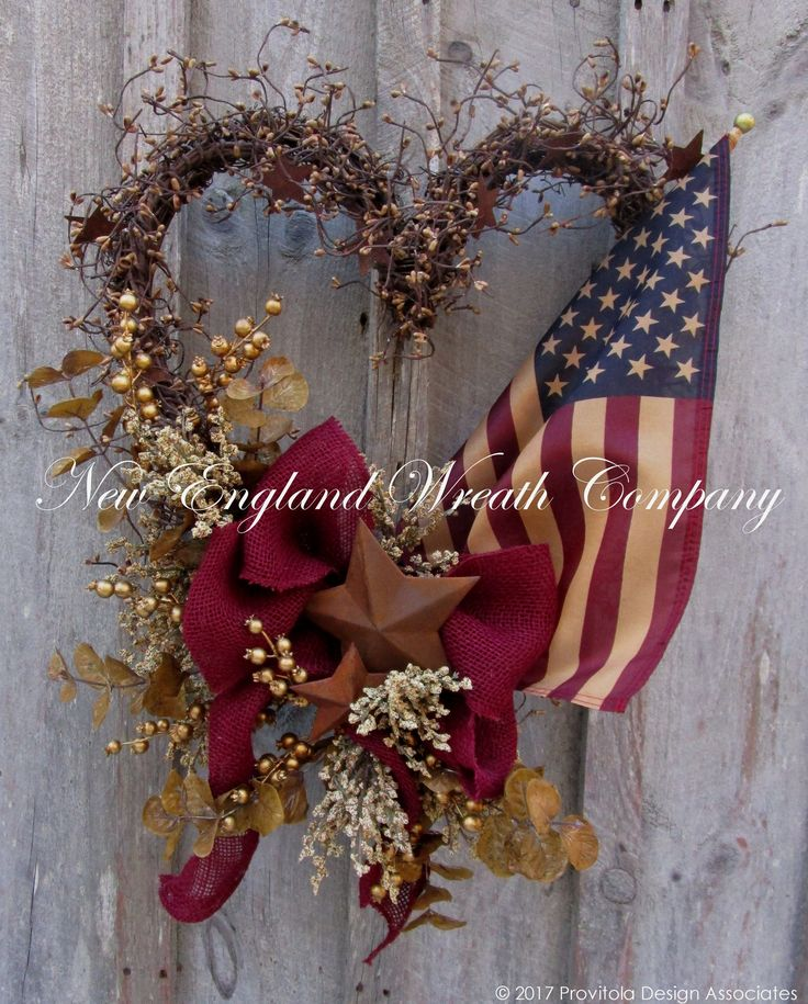 Americana Patriotic Heart Wreath with Tea Stained Flag