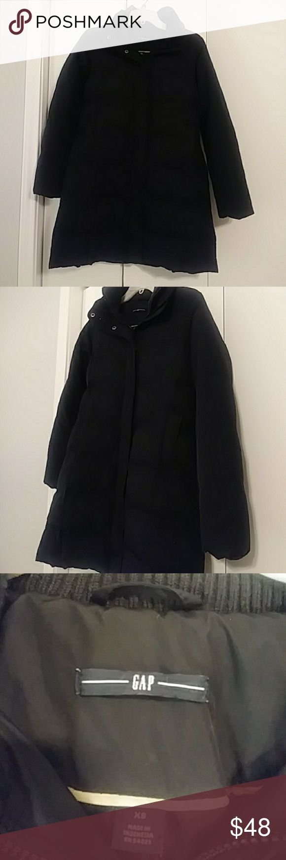 Gap women's Black Jacket Great conditon Gap Black Jacket. Super warm and confortable. It does Not come with a hoodie. Size XS GAP Jackets & Coats Puffers