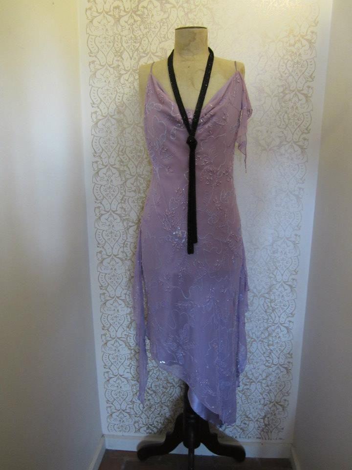 Mauve handkerchief beaded evening dress
