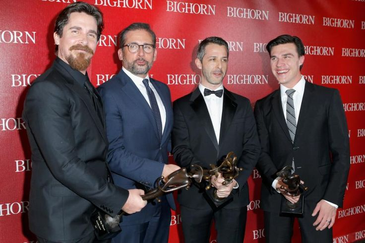 """Boys will be boys! Actors (l. to r.) Christian Bale, Steve Carell, Jeremy Strong and Finn Wittrock pose with their awards after winning the Ensemble Performance Award for """"The Big Short"""" during the Palm Springs International Film Festival Awards on Jan. 2, 2016."""