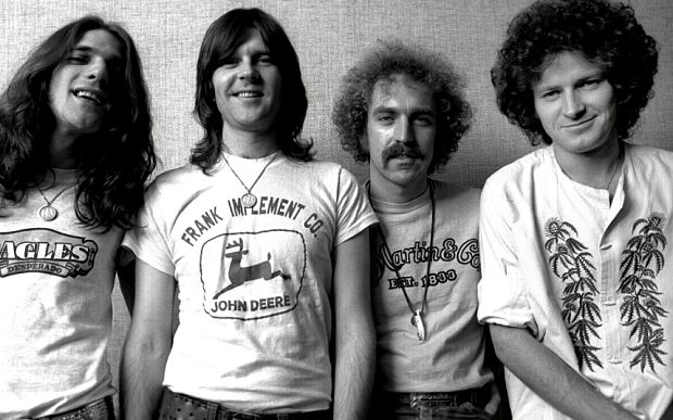 Glenn Frey, born November 6 1948, died January 18 2016 (L) pictured with the original Eagles lineup.