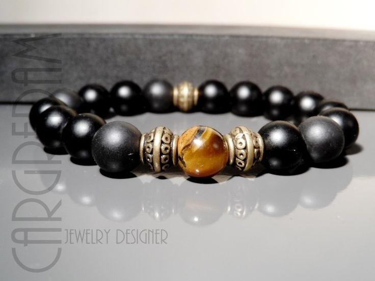 Bracelet homme tibétain oeil de tigre onyx noir mat et bronze : Bijoux pour hommes par shamballa-s-cargredam1