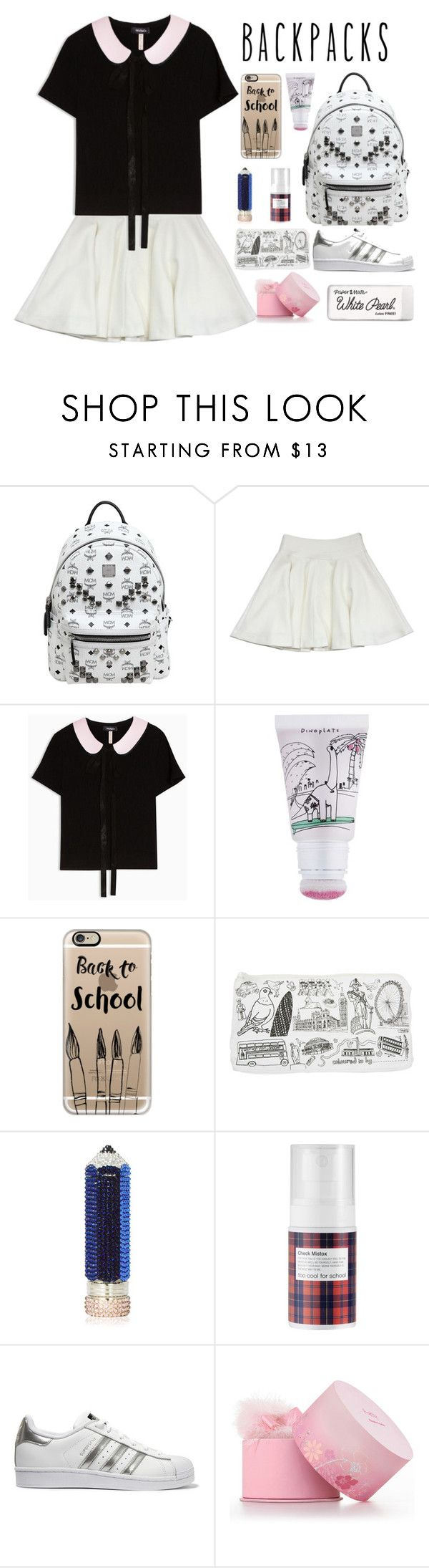 """""""Cool bag for school"""" by steviepumpkin ❤ liked on Polyvore featuring MCM, Milly, Max&Co., too cool for school, Casetify, Judith Leiber, adidas Originals, Elizabeth Arden, Paper Mate and backpacks"""