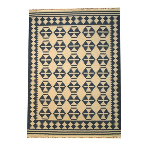 Indo Kilim Ivory/ Navy Rug (5'6 x 7'11) - Overstock™ Shopping - Great Deals on Herat Oriental 5x8 - 6x9 Rugs
