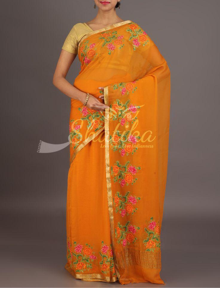 Tina Mustard Bouquet Of Flowers Border Pure Mysore Chiffon Saree