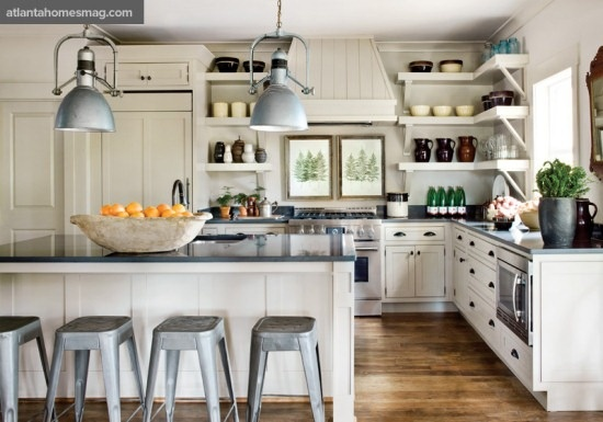 hmmmLights, Dreams Kitchens, Open Shelves, Kitchens Ideas, Atlanta Home, White Cabinets, Open Shelving, Stools, White Kitchens