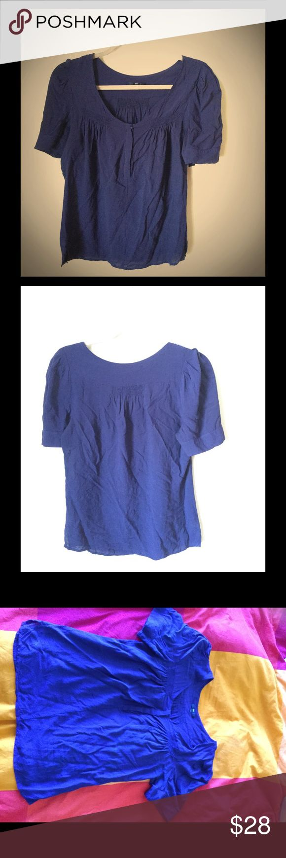 Gap- dark blue shirt with short sleeves. Great Gap dark blue shirt with short sleeves. Size M. 100% Rayon. Has buttons going down the shirt mid level. GAP Tops Blouses