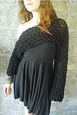 Off-the-Shoulder Shrug - Knitted shrug, crop top, knit crop top, airy knitted shrug, bulky knit, sweater, knitted shrug, knitted sweater