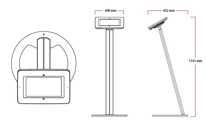 Windows Tablet Floor Stands by Sprocket with Secure Locakble Enclosure