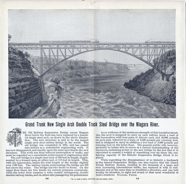 Grand Trunk Railway System Complete Time Tables 1899 September 1st - drawing of new double track bridge over the Niagara River.