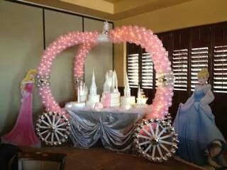 Balloon decoration for princess birthday or baby shower for Baby shower canopy decoration