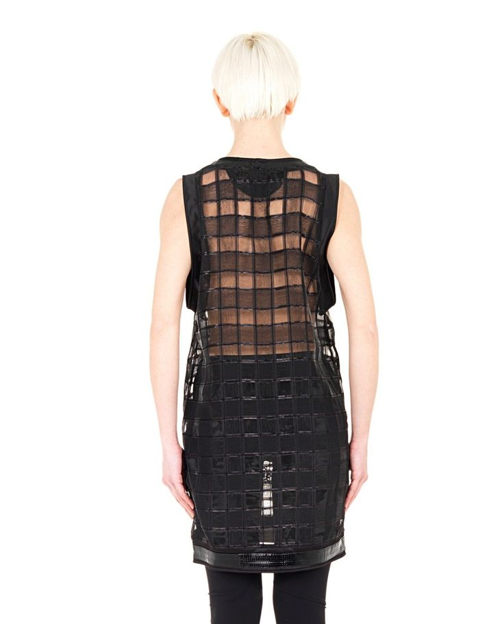 YOHANIX Black tank-top  round neckline sleeveless transparent effect leather inserts  embroidered with Swarovski crystals 95% PL 5% SE