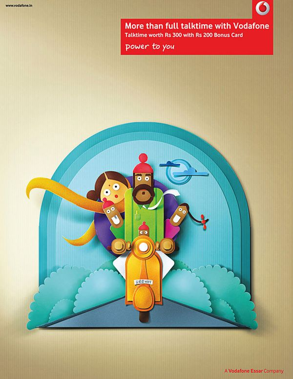 Paper perfect Indian characters (vodaphone campaign) by Nasheet Shadani  ( http://www.behance.net/gallery/Paper-perfect-Indian-characters-Vodafone/4094675 )