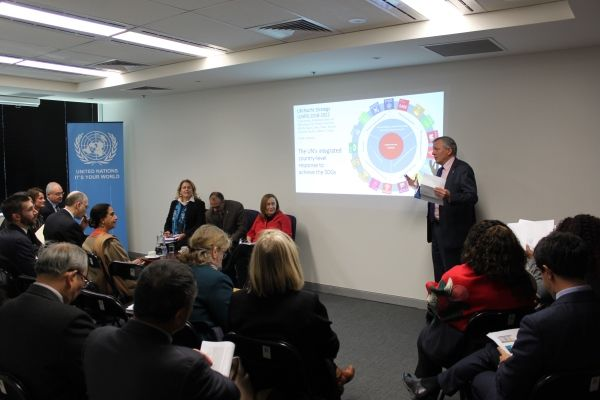 UNIC Canberra arranged a briefing during which the three UN Pacific heads of office  from Samoa, PNG and Fiji  talked to Diplomats NGO's and Government about the work of the UN in the region.