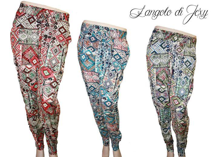 Dettagli su Pantaloni donna estivi viscosa Fantasia Jacquard harem Tg. S/M M/L L/XL Nuovi ...