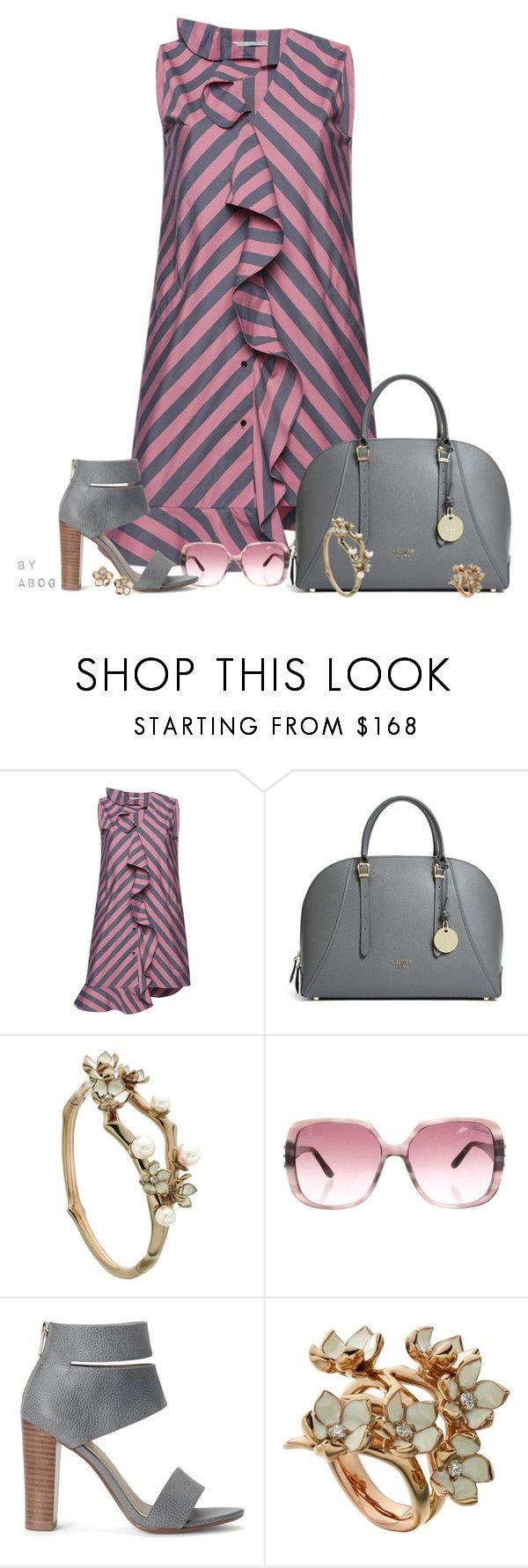 """""""Marco de Vincenzo Striped Popeline Rouche Dress"""" by karen-of-abog ❤ liked on Polyvore featuring Marco de Vincenzo, GUESS, Shaun Leane, Blumarine and Splendid"""