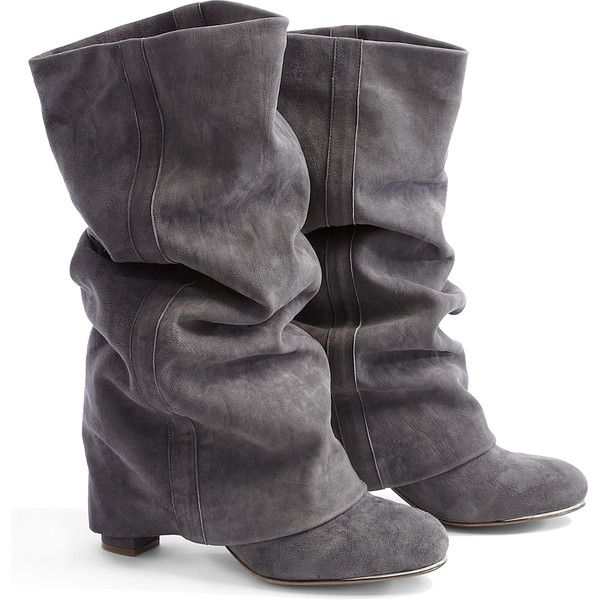Down Heeled Boots. Gray Suede BootsChloe ShoesShoes Boots AnkleSlouchy ...