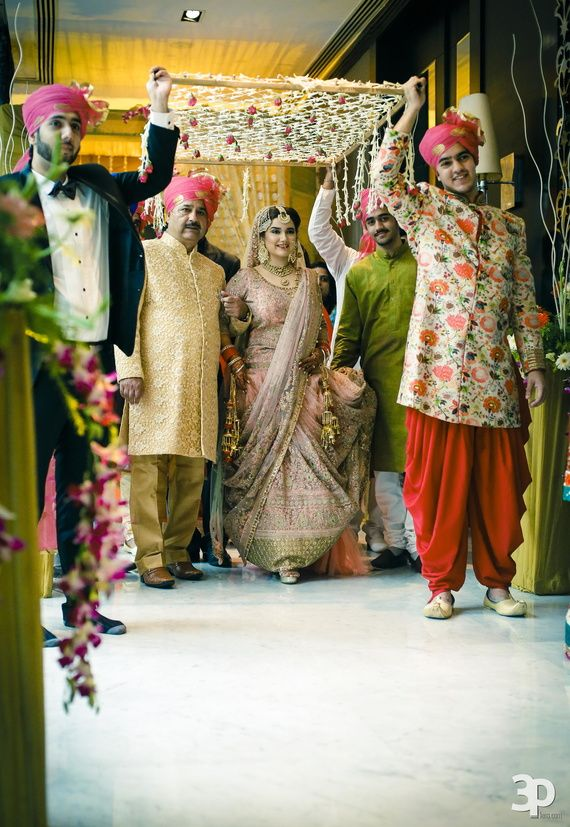 Bridal entry under phoolon ki chaadar