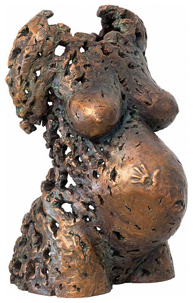 """Potential 8"" pregnant woman torso bronze sculpture by Sukhi Barber."