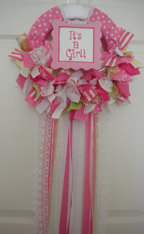 new baby ribbon and lace wreath with extra hanging ribbons in pinks for hospital door: Shower Ideas, Baby Wreaths For Girls, Baby Shower Mums For Girls, Baby Wreaths For Hospital Door, Wreaths Baby, Baby Shower Wreaths, Wreaths For Baby Girls, Wreath For Baby Girl, Baby Showers