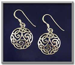 """Celtic Shield Earrings - Slightly domed, with a cut-through design, these earrings are dramatic without being heavy and overpowering . Design measures 5/8"""" in diameter. Sterling silver, on French hooks, for pierced ears only."""