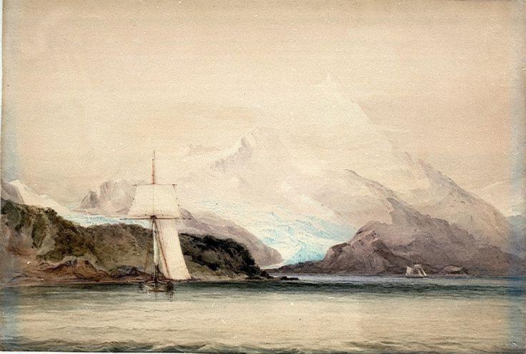 Conrad Martens: The second voyage of the HMS 'Beagle' - Conrad Martens, Mount Sarmiento, Tierra del Fuego, Showing 'Beagle'