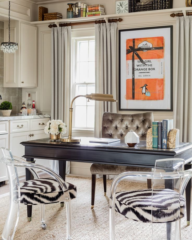 Eclectic Transitional Home Office With Zebra Print Chairs And Hermes Orange  Art Library Home Office Modern