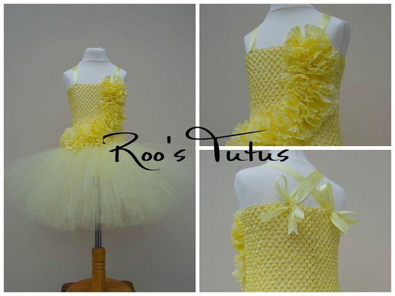 Vestido flor clavel amarilla de limón