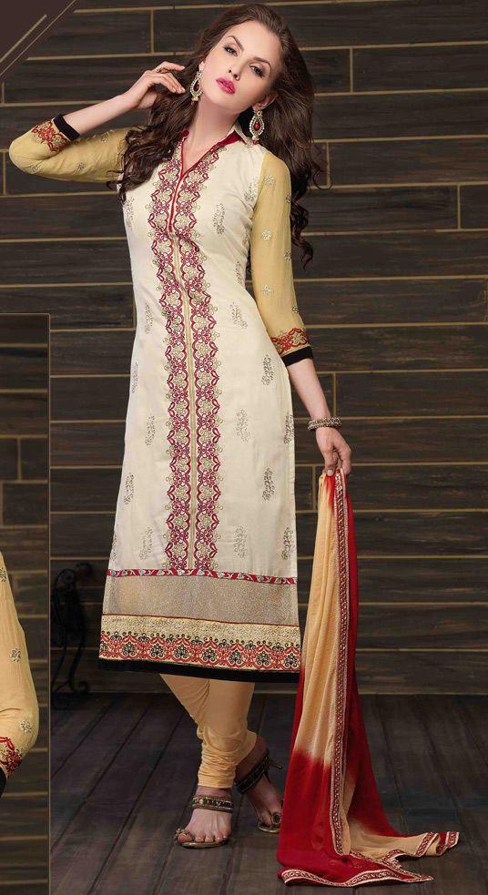 USD 36.06 Cream Cotton Pakistani Suit 44785