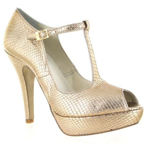 Gold Metallic Snake textured Leather Court Shoe, Was £135, Now £67.50 #fashion #weddings