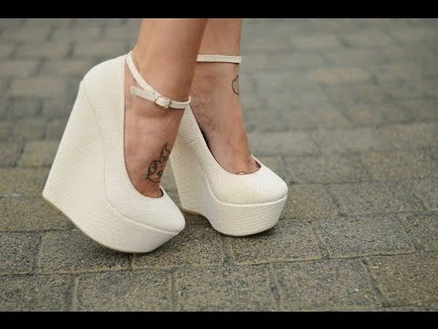 Свадебные туфли на танкетке фото - YouTube