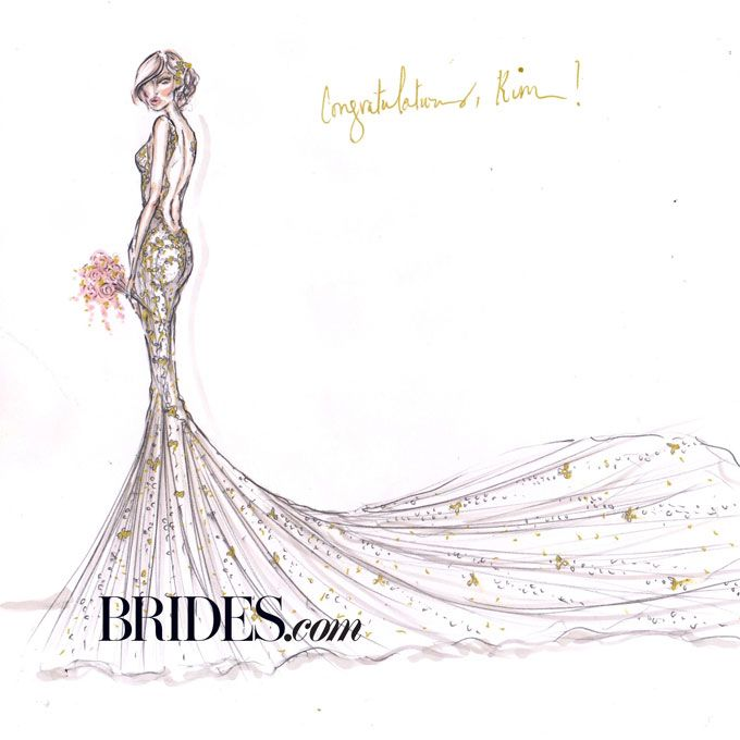 Brides.com: Kim Kardashian's Wedding Dress: Fantasy Designer Sketches. Alvina Valenta  With colorful floral embellishments and blush undertones, it's clear that designer Jessica Williams of Alvina Valenta envisions a spring or summer Kimye celebration. We love the contrast of the romantic detailing with the dramatic silhouette and eye-catching open back.  See more Alvina Valenta wedding dresses in our gallery.