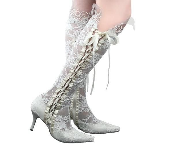Wies Toe 8cm High Heels Sheer White Lace Schönheit Prom Abend Party Kleid Frauen Lady Bridal Wedding Schuhe Stiefel
