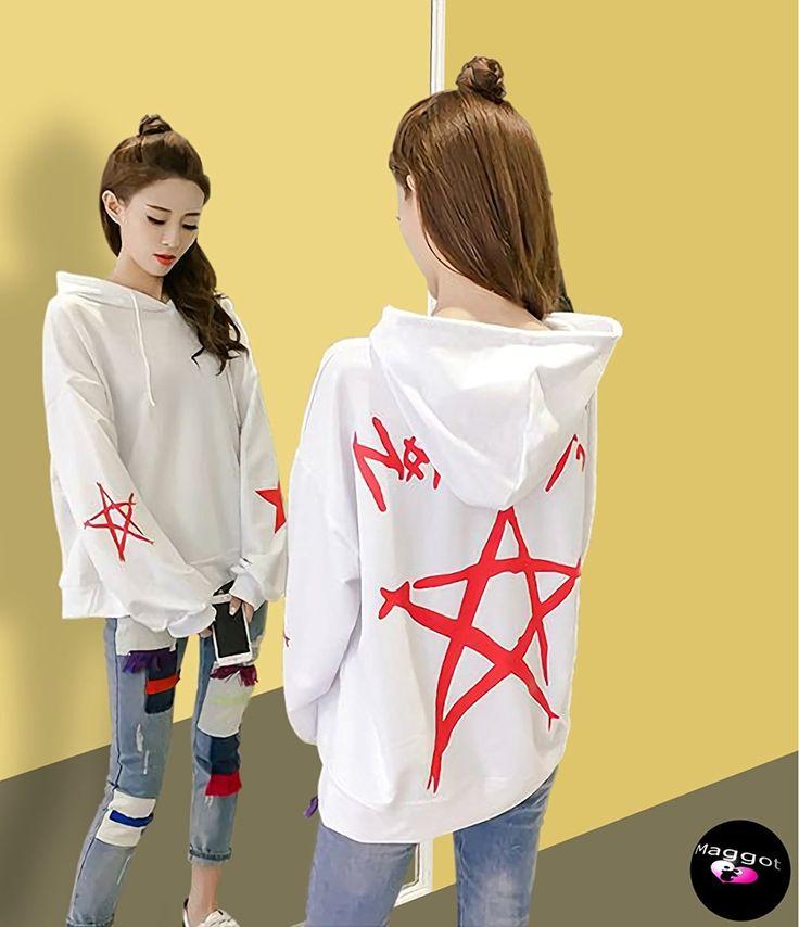 Amazon | ( マゴット ) Maggot パーカー トレーナー レディース ゆったり 大きめ 韓国ファッション 2カラー 4サイズ 星 (3. ホワイト XL サイズ ) | トレーナー・パーカー 通販