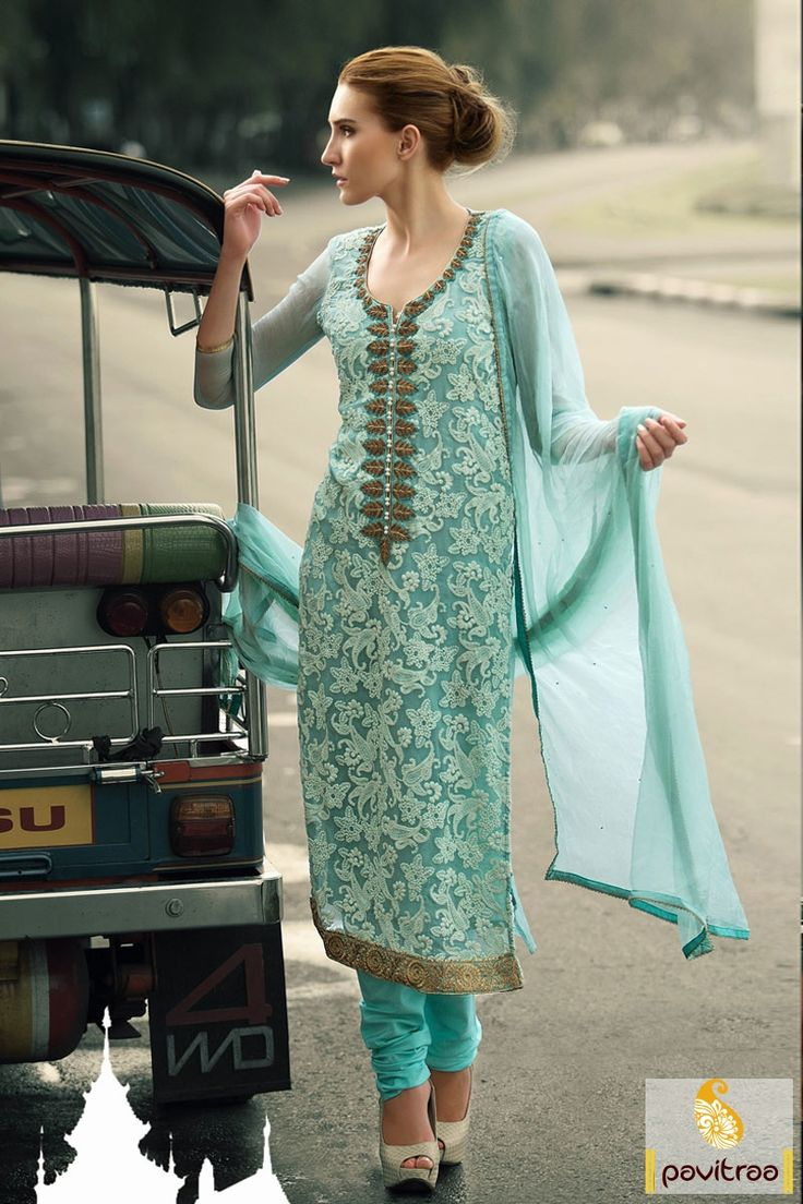 Pavitraa Turquoise Casual Salwar Suit Rs 3858.3 #pakistanisalwarsuits #salwarsuits #onlinesalwarsuits