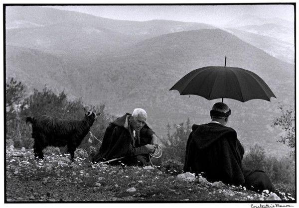 'Sepherds with a goat, Crete, Greece', Constantine Manos