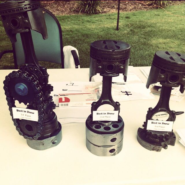 Piston trophies made for Village of East Harbor classic ...