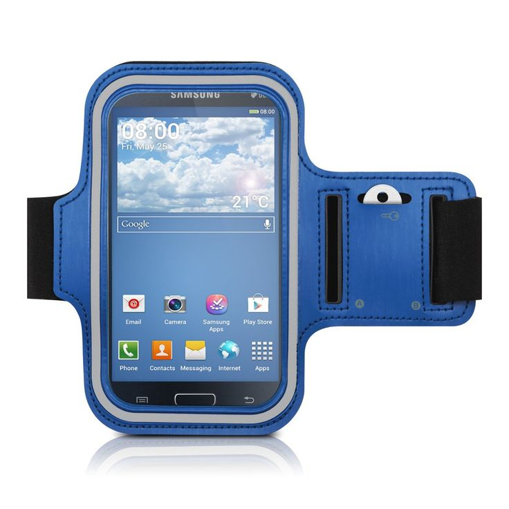 kwmobile sport armband for Samsung Galaxy Grand Neo / Duos jogging running sport bag fitness band with key compartment in the sport armband in blue. TIME TO WORK OUT!: No more excuses! Thanks to the sports armband you can go jogging, walking, hiking or work out with your Smartphone. You can listen to music while exercising, see the track while running and much more. VARIABLE SIZE: the armband is designed for an arm circumference of up to 37cm and can be closed with a velcro fastener....