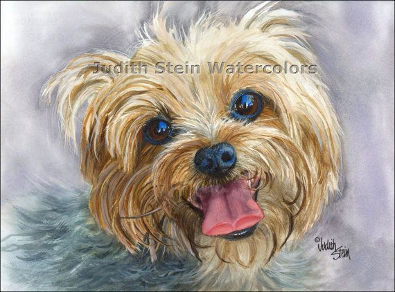 YORKSHIRE TERRIER Yorki Toy Dog 15x11 Watercolor Print by k9stein, $40.00
