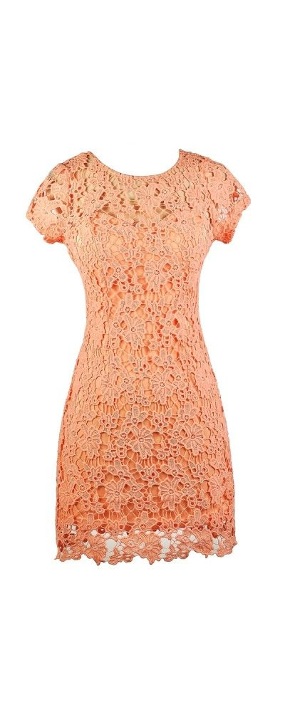 Forest Foliage Crochet Lace Dress in Peachy Pink