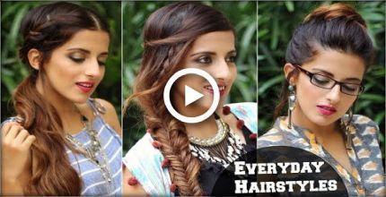 3 coiffures mignonnes Boho sans effort pour le travail scolaire / tutoriel rapide sur les cheveux /, #B ...