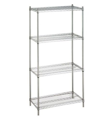 """Chrome Steel Wire Shelving Rack For Storage 74"""" High x 18"""" x 72"""" With 4 Shelves . $181.80. Weight capacity of 800#'s per shelf evenly distributed. You can add wheels to make the unit go mobile. Contact us for additional accessories to maximize the use of you shelving unit. Justshelfit.com sells high quality and affordable multipurpose 74"""" high wire chrome shelving rack for storage."""