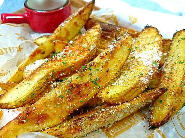 sakurako's dish photo 揚げずに焼いてちょっぴりヘルシーに パルメザンチーズ ガーリック風味のベイクドポテト | http://snapdish.co #SnapDish #レシピ #ダイエット料理グランプリ2016 #焼く/炒め物 #おつまみ #野菜料理 #パーティー