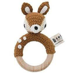 SEBRA > Hæklet rangle - Bambi Sebra - Sød hæklet ranglering med bambi på - og klokke inden i - 89,95 kr